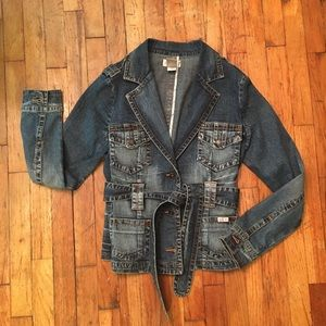 Baby Phat Belted Denim Blazer Jacket 4 Pockets